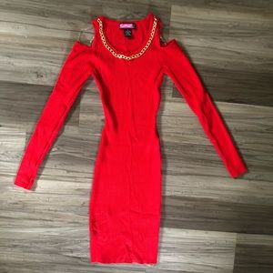 Red ribbed dress NWOT